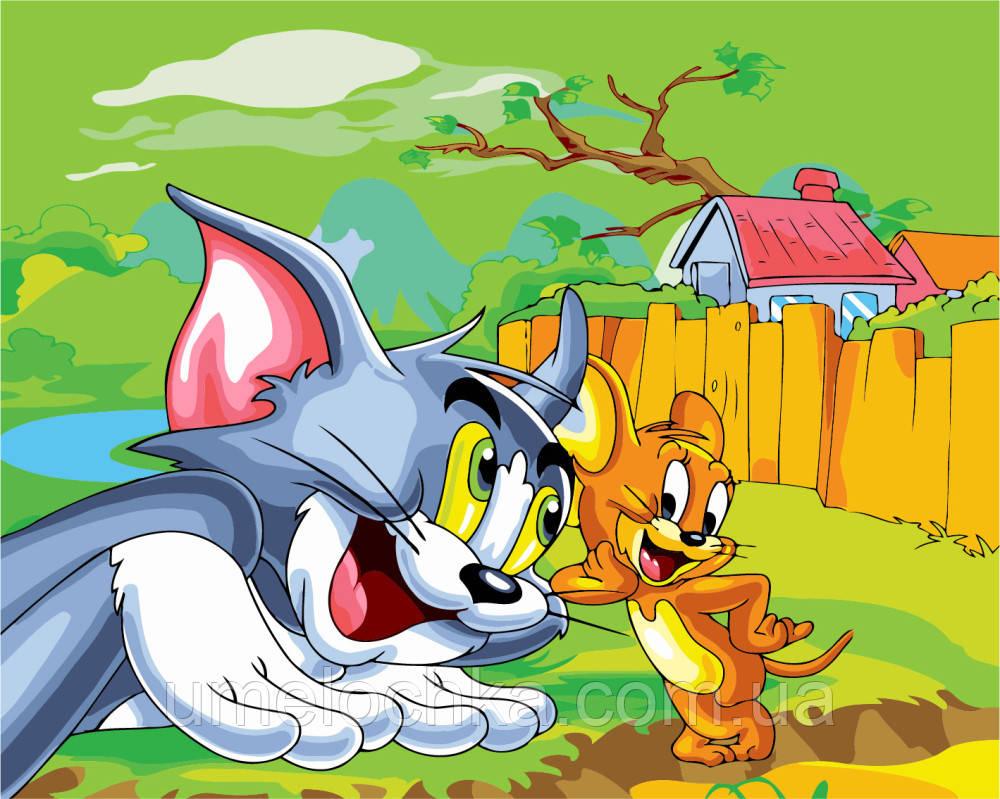 Картина раскраска по номерам без коробки Том и Джери (BK-GX6239) 40 х 50 см