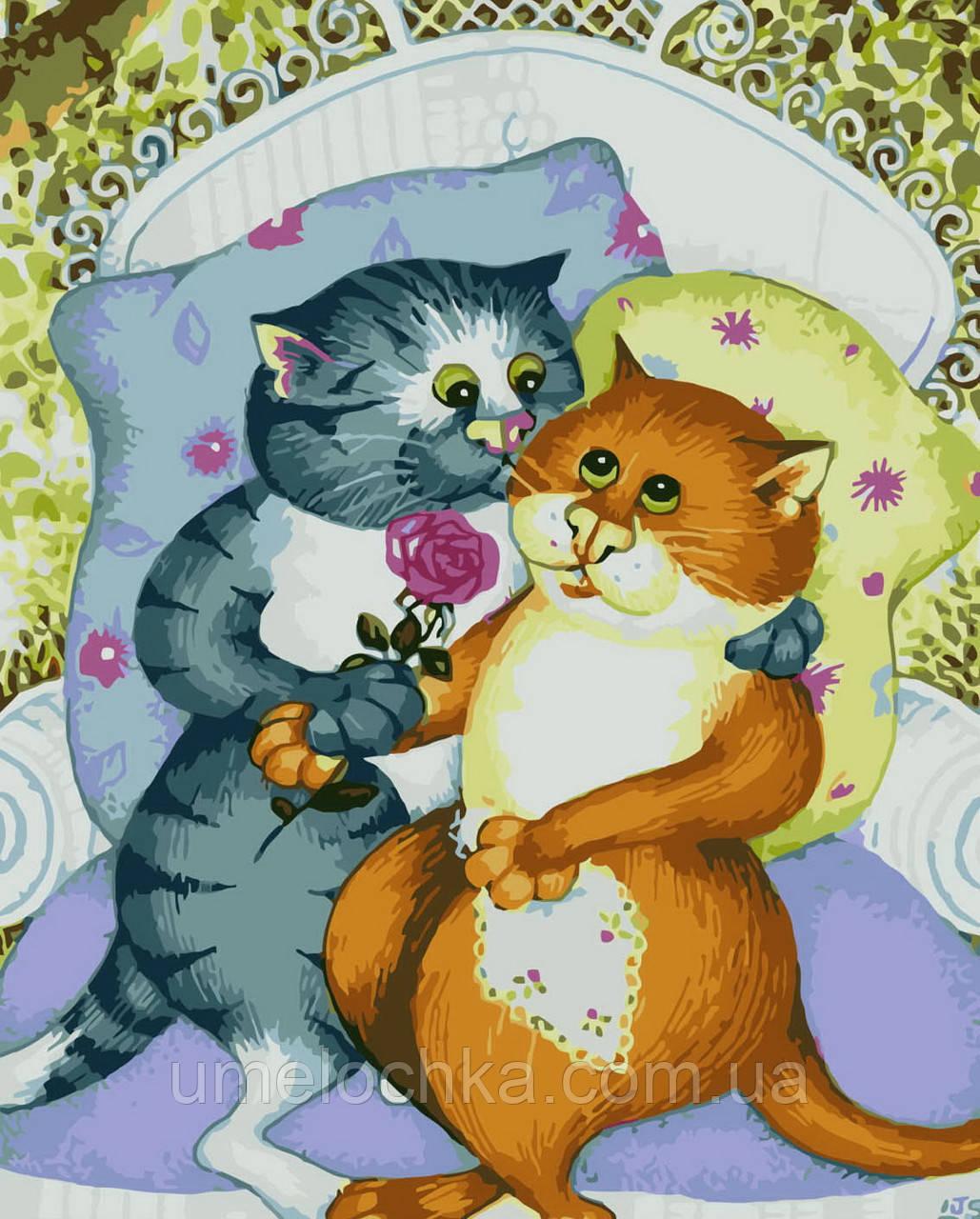 Картина раскраска по номерам без коробки Влюбленные котики (BK-GX7059) 40 х 50 см