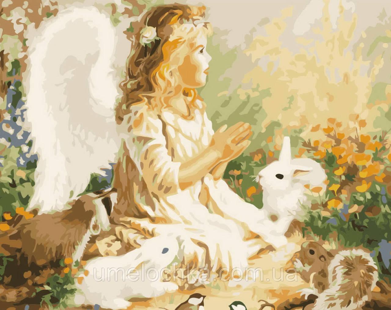 Картина по номерам без коробки Ангелочек в лесу (BK-GX7275) 40 х 50 см