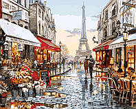 Картина по номерам на холсте без коробки Париж после дождя (BK-GX8090) 40 х 50 см