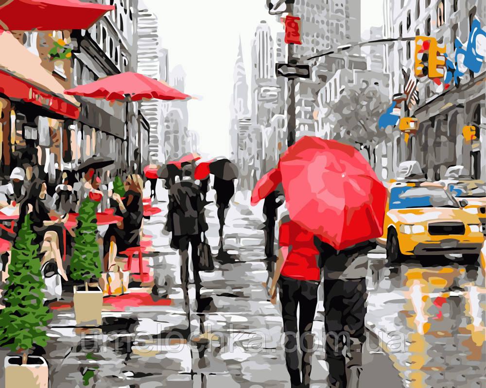 Картина раскраска по номерам без коробки Дождь в Нью-Йорке (BK-GX8091) 40 х 50 см