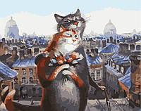 Картина раскраска по номерам без коробки Коты романтики (BK-GX8123) 40 х 50 см