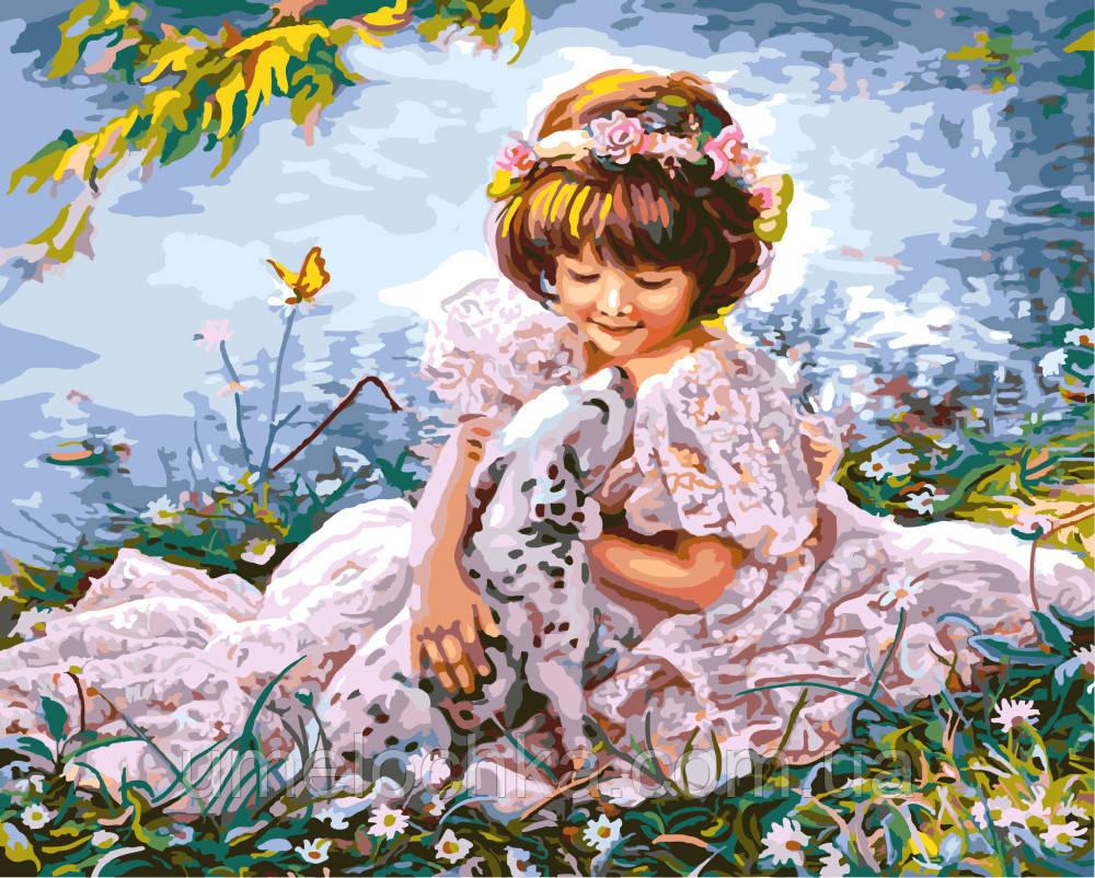 Картина по номерам на холсте без коробки Девочка с далматинцем (BK-GX8553) 40 х 50 см