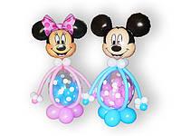 Фигуры  Микки и Минни Маус из воздушных шаров. Высота - 1,50м