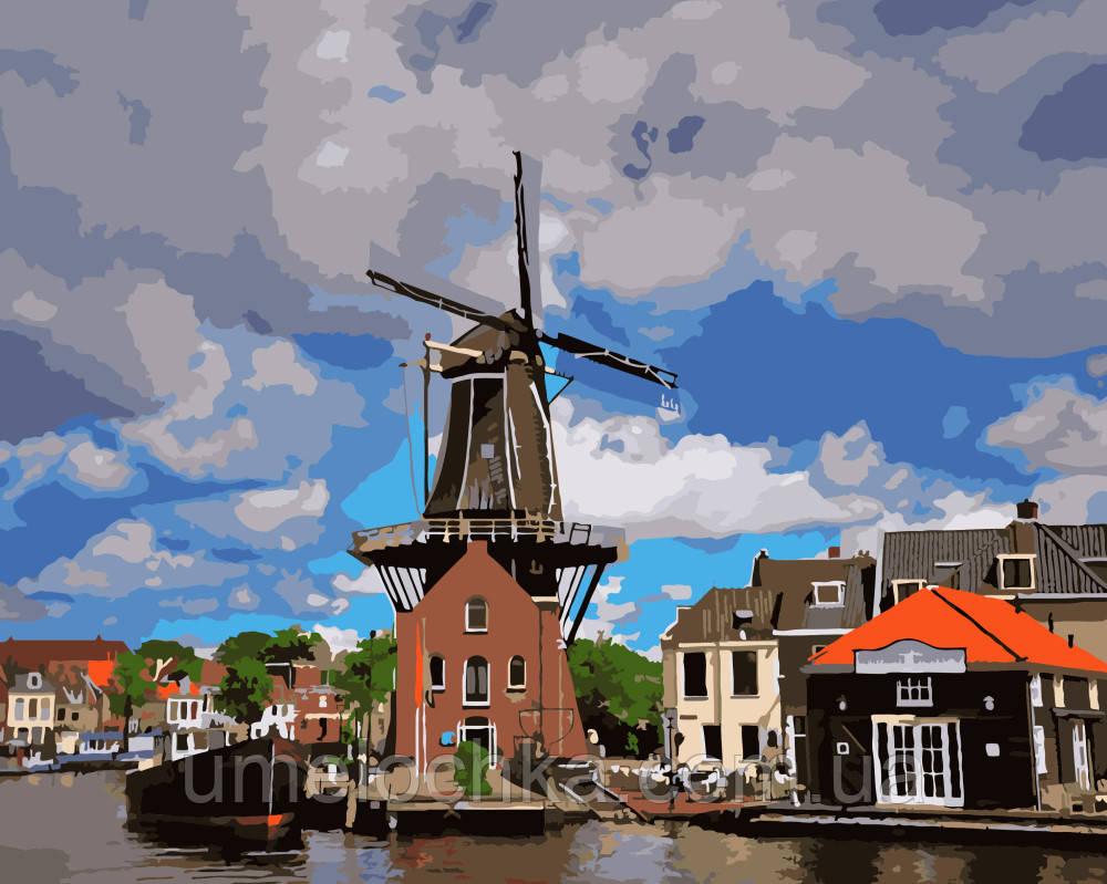 Картина раскраска по номерам без коробки Ветряная мельница (BK-GX8914) 40 х 50 см
