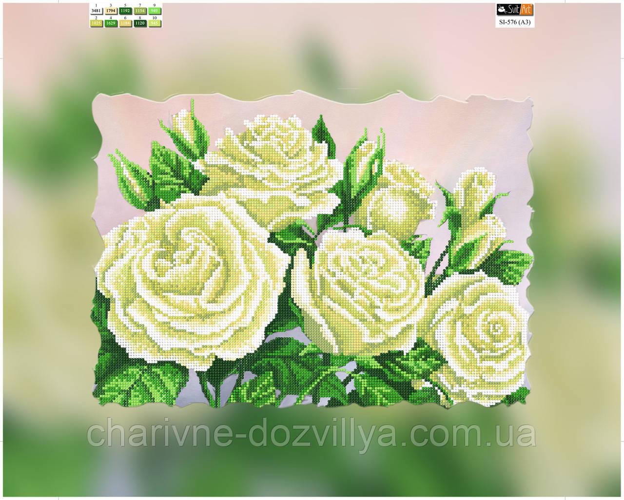 """Схема для вишивання бісером на підрамнику (полотно) """"Прекрасні білі троянди"""""""