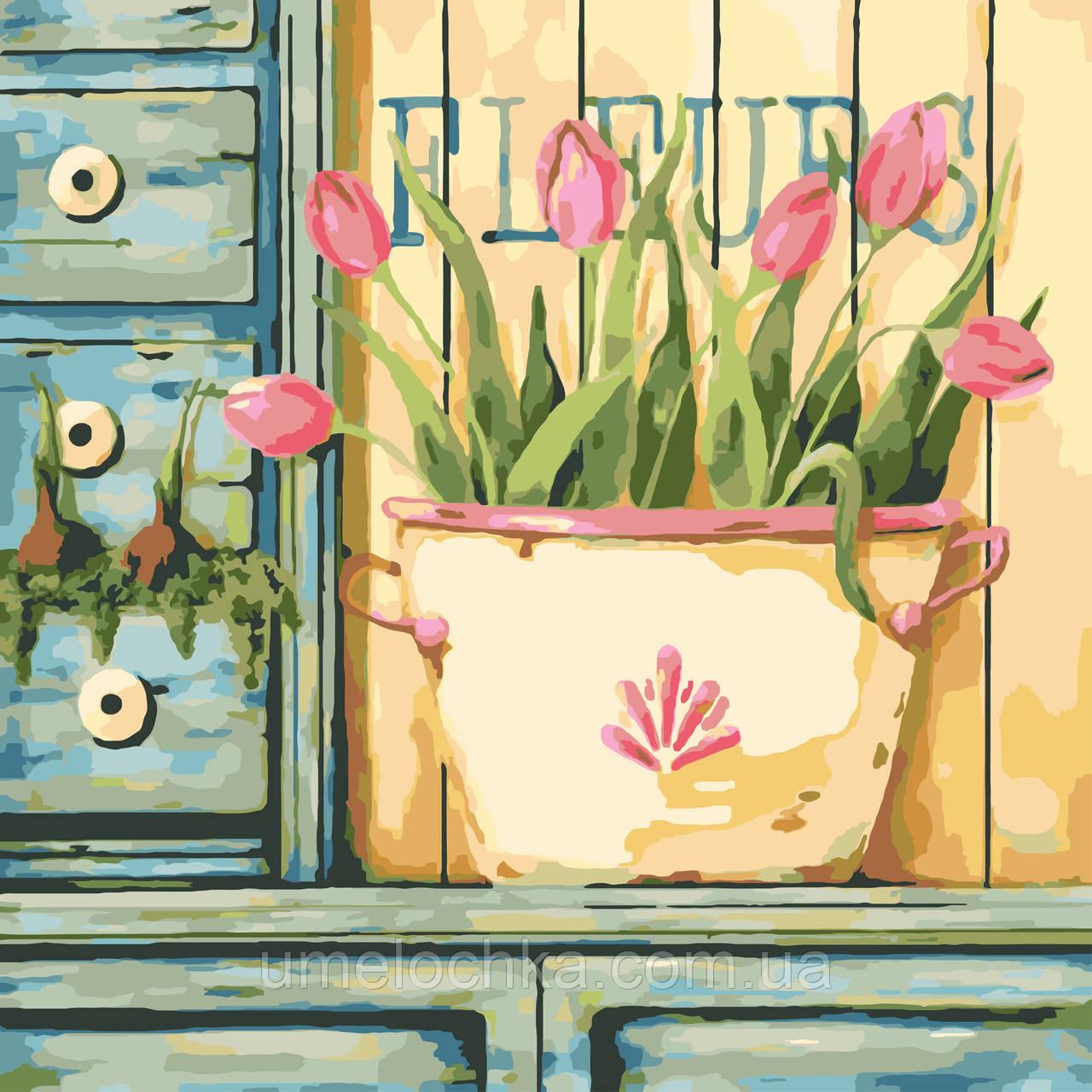Картина по номерам на холсте без коробки Идейка Розовые тюльпаны (KHO2028) 40 х 40 см