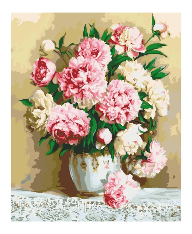 Картина по номерам Идейка Нежно-розовые пионы (KHO2032) 40 х 50 см