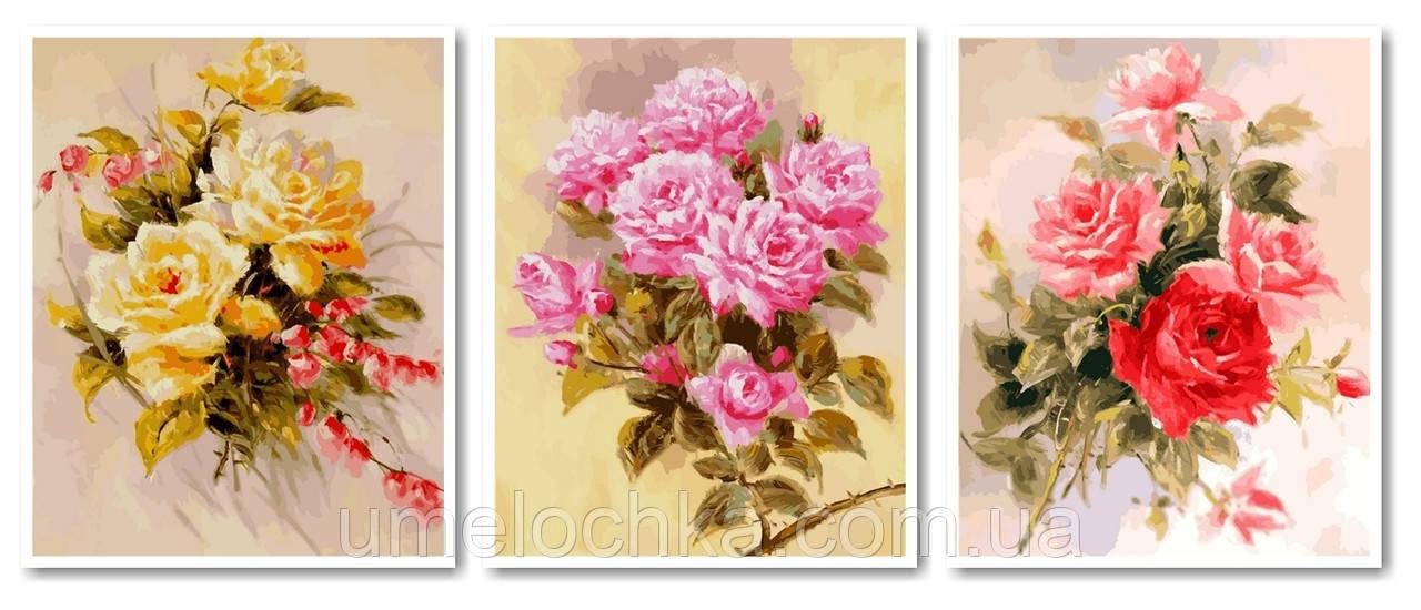 Картина-раскраска Турбо Триптих Нежные розы (VPT013) 120 х 50 см