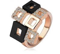 Позолоченное женское кольцо с кристаллами р 17 20 код 178