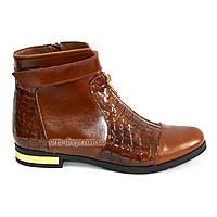 Женские зимние коричневые ботинки на низом ходу, натуральная кожа.