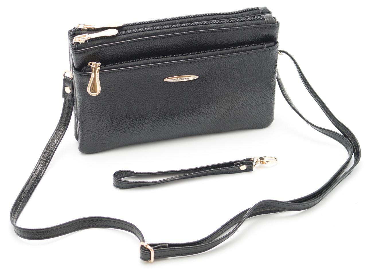 Компактная женская черная сумка барсетка FUERDANNI art. 601