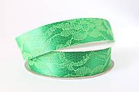 Лента декоративная атлас с кружевом 2.5 см, 20 ярд, ярко-зеленого цвета оптом (рулоном)