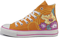 Женские кеды Converse All Star оранжевые с узором, конверс
