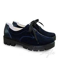 Туфли женские из натурального замша на тракторной подошве