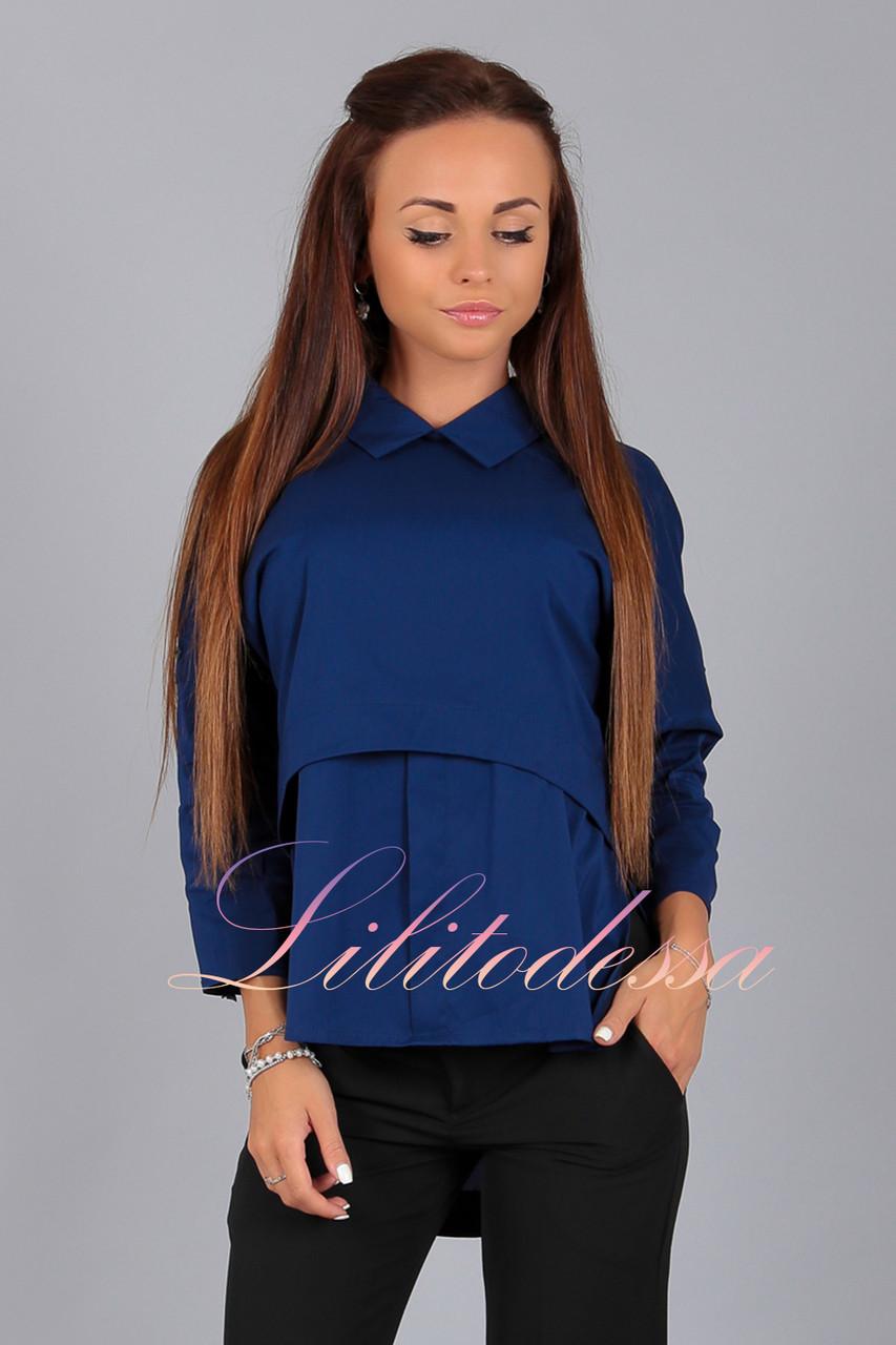 Блуза комбинированная темно-синяя