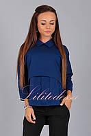 Блуза комбинированная темно-синяя, фото 1