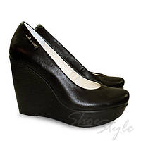 Женские туфли лодочки на танкетке из натуральной кожи оптом и в розницу