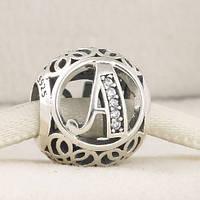Шарм Пандора буква А, серебро