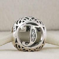 Шарм Пандора буква Т, серебро