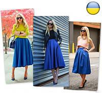 Женская юбка миди с карманами из коттона