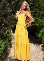 Длинное платье с бантами на плечах