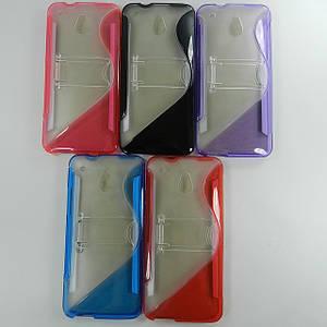 Чехол TPU S формы для HTC One Mini M4  с подставкой (синий. фиолетовый, черный, розовый)