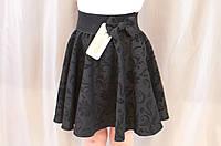 Красивая нарядная юбка с флоком на девочку, черная