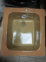 Врезной керамический умывальник (мойка) Sarreguemines 450 х 500 (карамель)