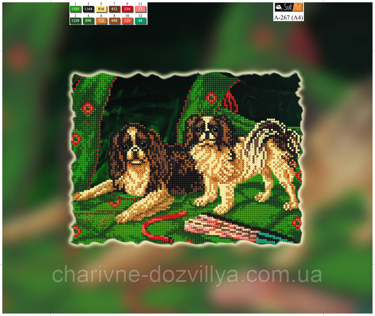 """Схема для вышивки бисером на подрамнике (холст) """"Милые собачки"""""""
