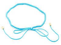 Оригинальный плетеный женский поясок-завязка ручной работы голубого цвета