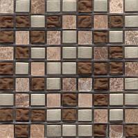Бежевая мозаика для стен камень стекло Vivacer PC004