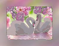 """Схема для вышивки бисером на подрамнике (холст) """"Пара лебедей"""""""