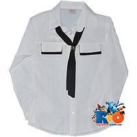 """Белая рубашка """"Галстук"""" , для девочек от 7-10 лет"""