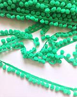 Тесьма с помпонами зеленая 1 см