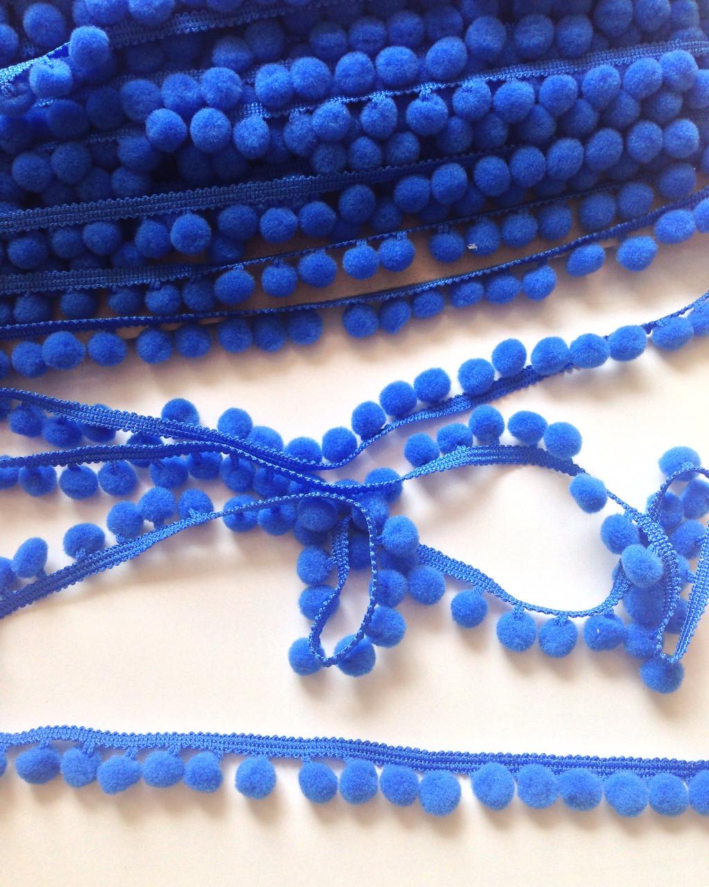 Тесьма с помпонами синяя 10мм