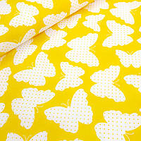 Хлопковая ткань польская белые бабочки на желтом