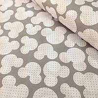 Хлопковая ткань польская белые микки на сером