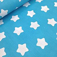 Хлопковая ткань польская белые звезды крупные (пряники) на бирюзе