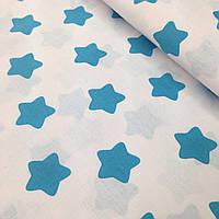 Хлопковая ткань польская звезды крупные бирюзовые (пряники) на белом