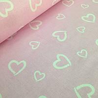 Хлопковая ткань польская белые сердца (валентинки) на розовом