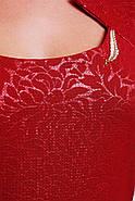 Женское приталенное платье с коротким рукавом Катрин цвет бордо размер 52,54,56 / большие размеры, фото 2