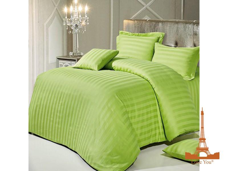 Комплект постельного белья Евро Love You Страйп-сатин 200Х220 салатовый