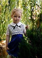 Нарядное платье для школы из трикотажа с гипюром