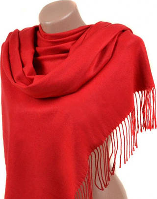 Яркий женский кашемировый палантин размером 60*180 см Подиум 32112 red (красный)
