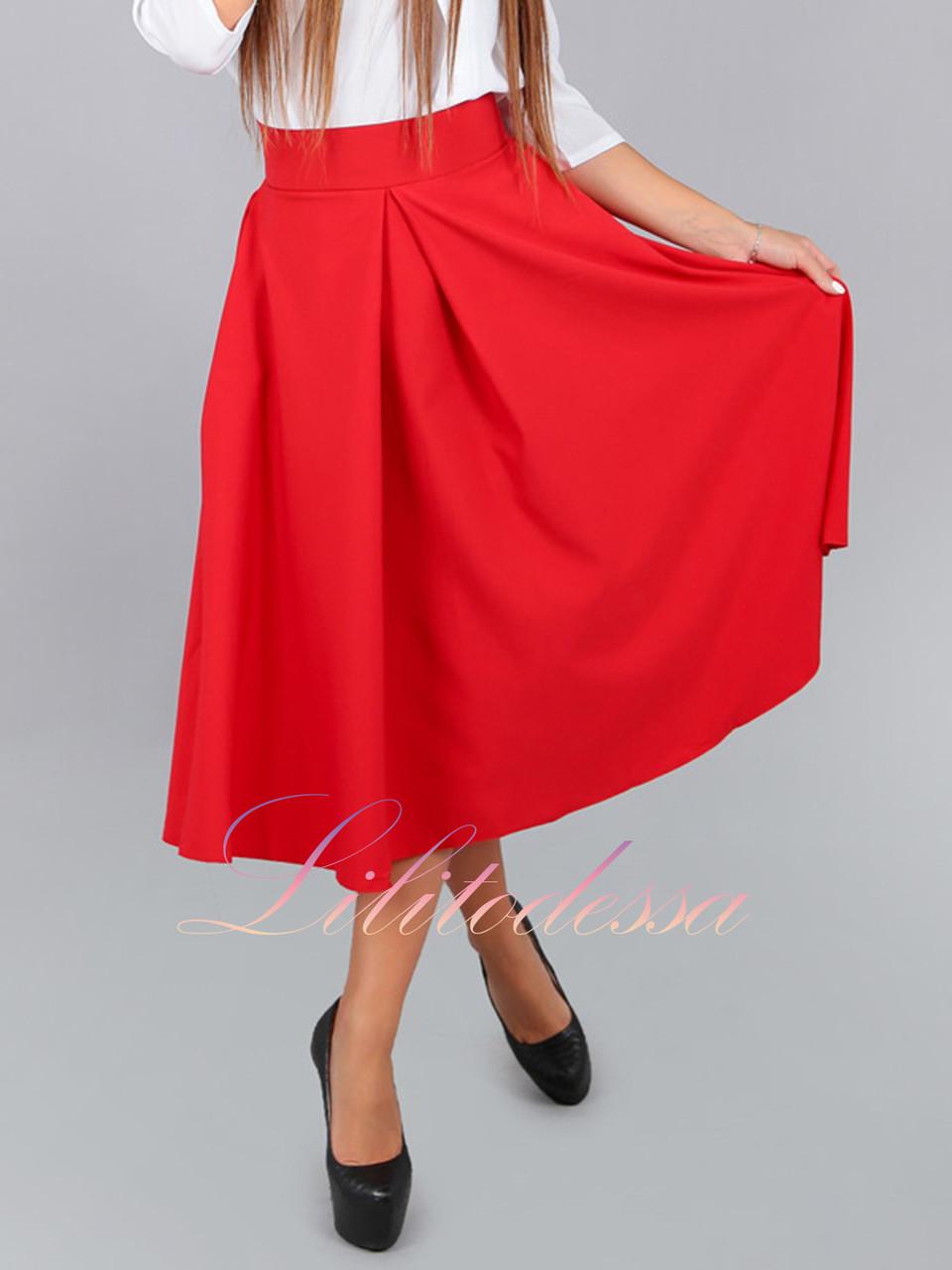 Юбка миди с карманами красная