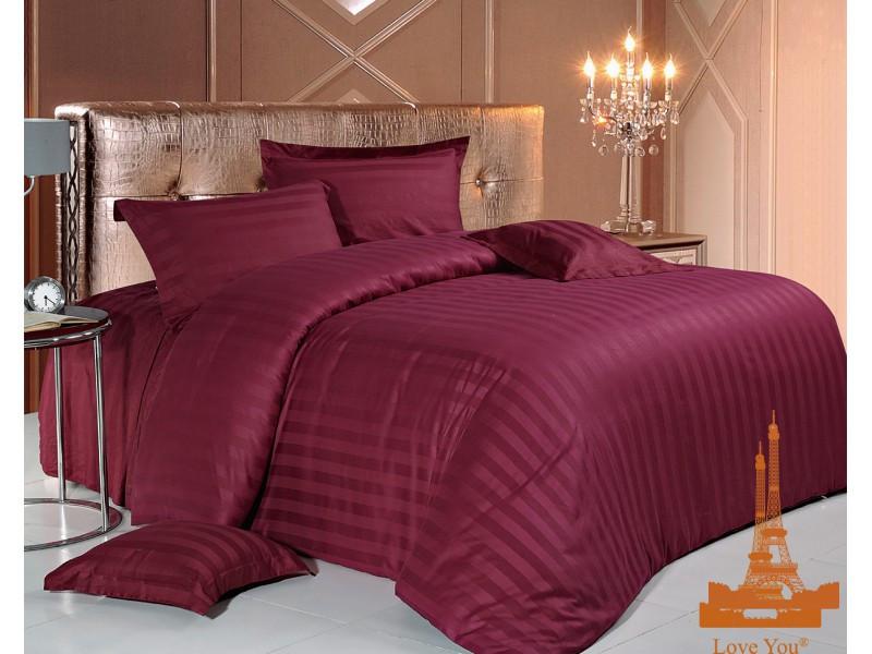 Комплект постельного белья Евро Love You Страйп-сатин 200Х220 бордовый 10 - 3