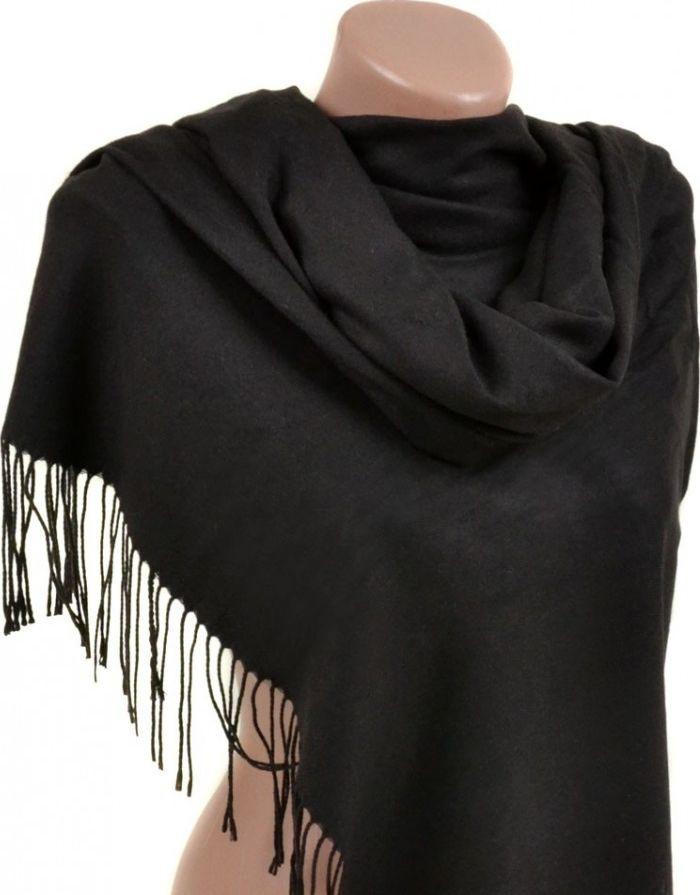 Стильный женский кашемировый палантин размером 60*180 см Подиум 32112 black (черный)