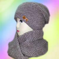 Комплект женский хомут+шапка. флис, разные цвета