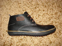 Осенние кожаные ботинки коричневые + байка (44/45), фото 1
